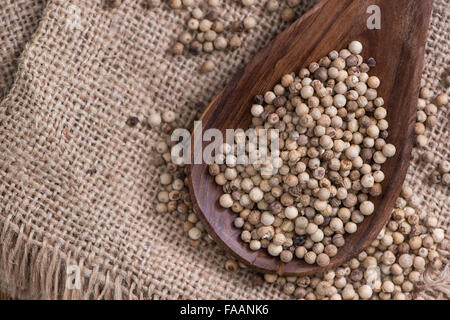 Some white Peppercorns (close-up shot) on wooden background - Stock Photo