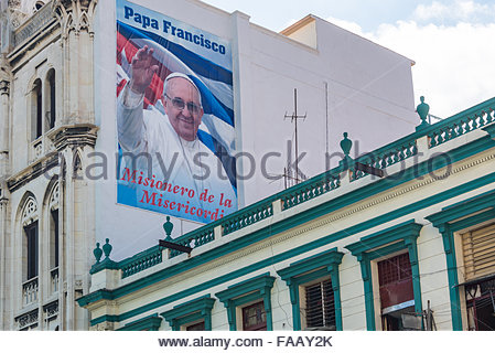 Pope Francis poster in the Popularly known as Reina Church, the Parish of the Sacred Heart of Jesus and St. Ignatius - Stock Photo
