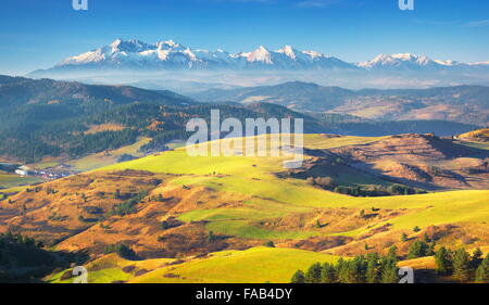 Pieniny Mountains - In the distance you can see Tatra Mountains, Poland - Stock Photo