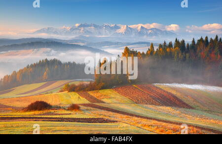 Tatra Mountains - view from Czorsztyn, Pieniny region, Poland - Stock Photo