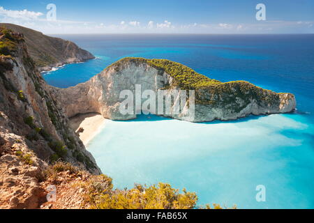 Greece - Zakynthos, Shipwreck Cove, Navagio Beach - Stock Photo