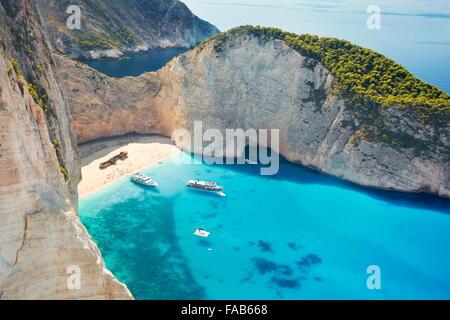 Greece - Zakynthos, Navagio Beach, Shipwrack Cove - Stock Photo