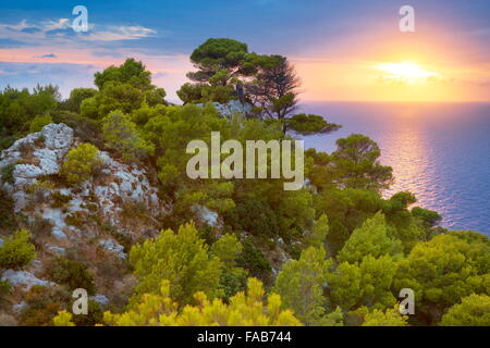Greece - Zakynthos Island, Ionian Sea, sunset from Keri - Stock Photo