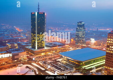Warsaw - view to the commercial district from PKiN, Poland - Stock Photo