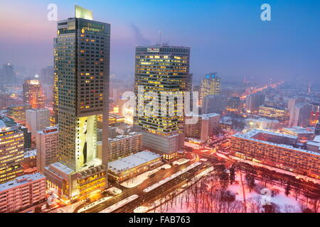 Warsaw skyline - view to the commercial district,  Poland - Stock Photo