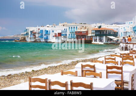 Outdoor at Mykonos Island, Cyclades, Greece - Stock Photo