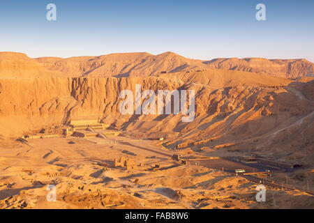 Egypt - over the valley of the Queens, Hatshepsut temple, Unesco - Stock Photo