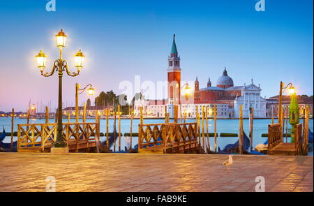 Venice San Marco at evening - view to the The Cathedral of San Giorgio Maggiore, Venice, Italy - Stock Photo