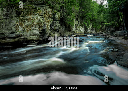 Grand Canyon of the Upper Peninsula. Sturgeon River near Canyon Falls, Michigan. - Stock Photo