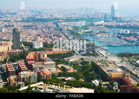 view of seaside part of Barcelona from helicopter in  day time. Spain - Stock Photo