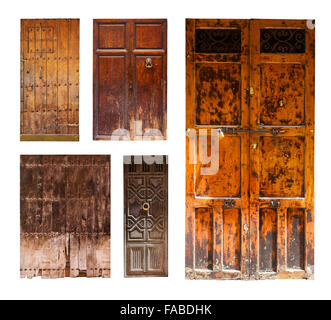 vintage wooden doors. Isolated on white background - Stock Photo