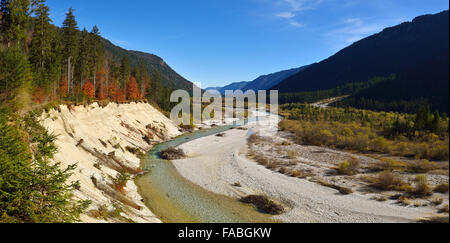 View over Isar river and valley, Karwendel nature reserve, Bavaria, Germany - Stock Photo