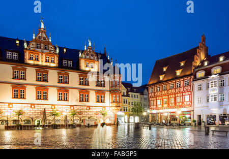 Stadthaus building and half-timbered house on the market square at dusk, Coburg, Upper Franconia, Bavaria, Germany