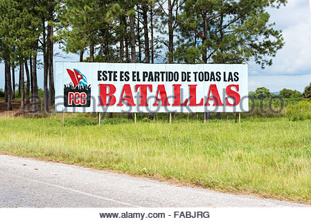 Cuban Communist Party propaganda sign or billboard in Pinar del Rio,Cuba. The sign reads: This is the party of all - Stock Photo