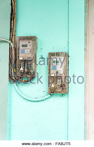 New digital electric counters installed in some houses and business in Pinar del Rio,Cuba Power supply has been - Stock Photo