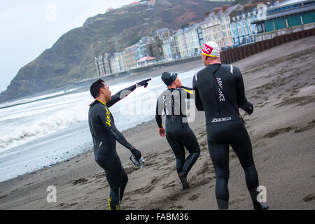 Aberystwyth, Ceredigion, West Wales, UK - Boxing Day 26th December 2015. Members of the Swim, Bike, Run Facebook - Stock Photo
