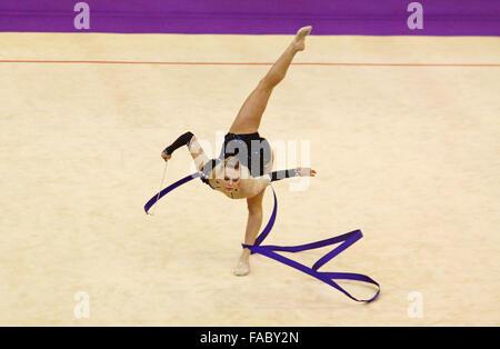 KYIV, UKRAINE - MARCH 17, 2012: Nicole Ruprecht of Austria performs during Deriugina Cup (Rhythmic Gymnastics World - Stock Photo