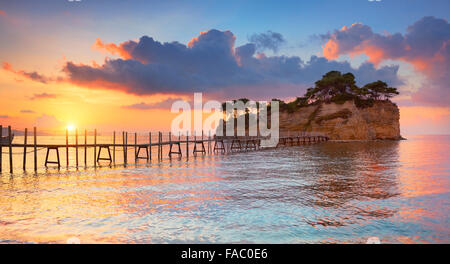 Greece - Zakynthos Island, Agios Sostis Island landscape at sunrise, Laganas - Stock Photo
