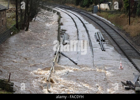 Haworth, UK. 26 December 2105. The tracks near Haworth Station, on the Keighley & Worth Valley Railway, West Yorkshire, - Stock Photo