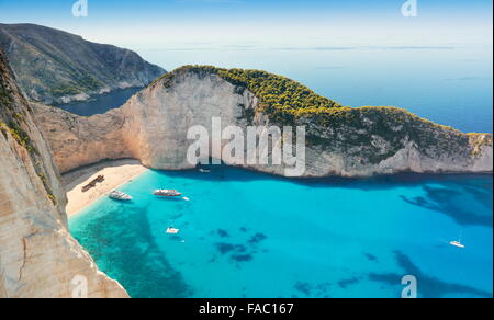 Zakynthos Island - Navagio Beach, Shipwrack Cove, Greece - Stock Photo