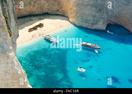 Navagio Beach - Zakynthos Island, Shipwreck Cove - Stock Photo