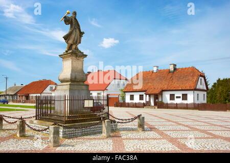 Tykocin-Stefan Czarniecki monument on the market square, Podlasie region, Poland - Stock Photo