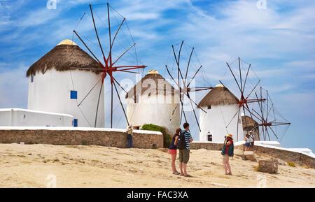 Mykonos - Cyclades Islands, Greece, windmills - Stock Photo