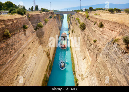 Corinth - Boat in the canal of Corinth, Peloponnese, Greece - Stock Photo