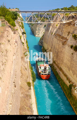 Corinth - Boat in the ancient canal of Corinth, Peloponnese, Greece - Stock Photo