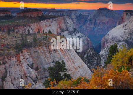 Behunin Canyon from the West Rim Trail, Zion National Park, Utah. - Stock Photo