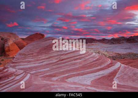 Fire Wave, Valley of Fire State Park, near Las Vegas, Nevada. - Stock Photo
