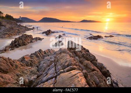 Thailand - Phuket Island, tropical Patong Beach at sunset time - Stock Photo