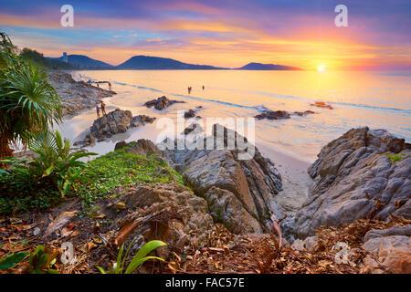 Thailand - tropical Phuket Island, Patong Beach, sunset time scenery - Stock Photo