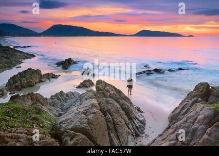 Thailand - Phuket Island, Patong Beach, sunset time scenery - Stock Photo