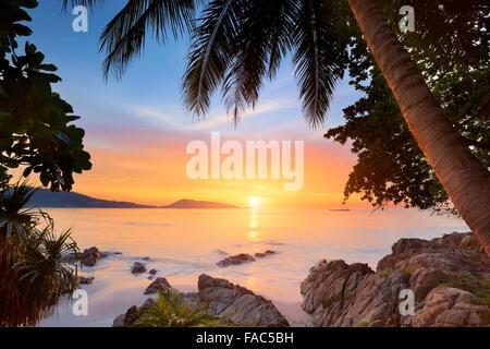 Thailand - Phuket Island, Patong Beach, tropical sunset time scenery - Stock Photo