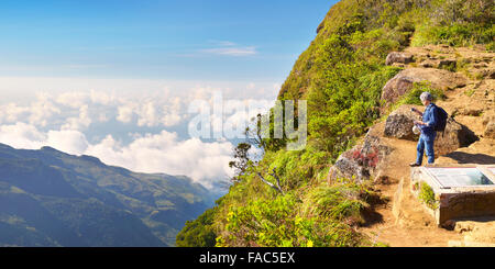 Sri Lanka - Horton Plains National Park, view from 'World's End' - Stock Photo