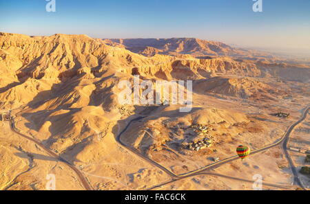 Egypt - balloon flights over the west bank of the Nile, landscape of mountains - Stock Photo