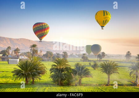 Egypt - balloon flights over the west bank of the Nile, landscape of mountains and green valley - Stock Photo