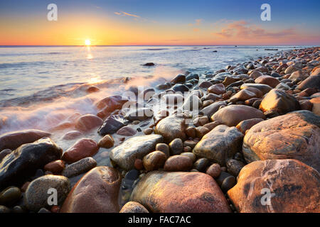 Baltic Sea landscape at sunrise, Pomerania, Poland, Europe - Stock Photo