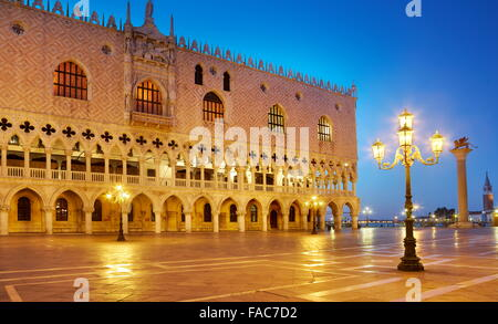 Venice - St Mark's Campanile and Doge's Palace (Palazzo Ducale) at evening time, Italy, UNESCO - Stock Photo