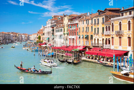 Venice view from the Rialto Bridge, gondola on the Grand Canal, Venice, Veneto, Italy - Stock Photo