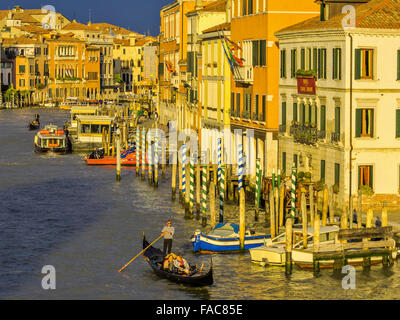 Grand canal view from Ponte degli Scalzi bridge at sunset in Venice, Italy Venice, Italy - Stock Photo