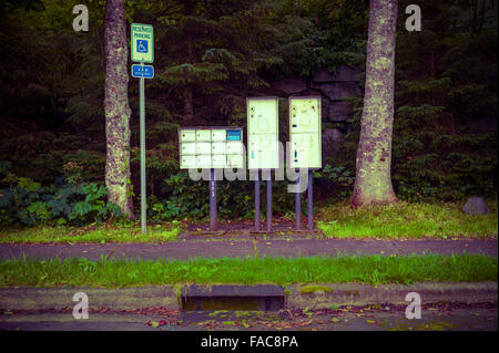 Mailboxes in downtown Sitka, Alaska, USA.   Photography by Jeffrey Wickett, Northlight Photography, http:// northlight.blog - Stock Photo