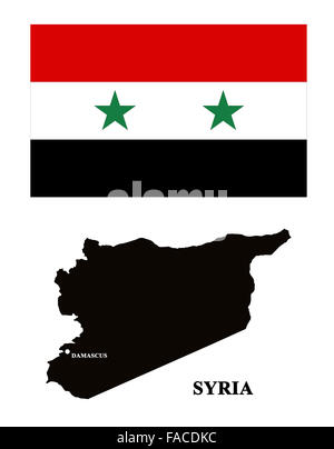 map of Syria and its flag isolated on the white - Stock Photo