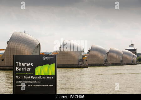 The Thames barrier on the River Thames in London. It was constructed to protect the capital city from storm surge - Stock Photo