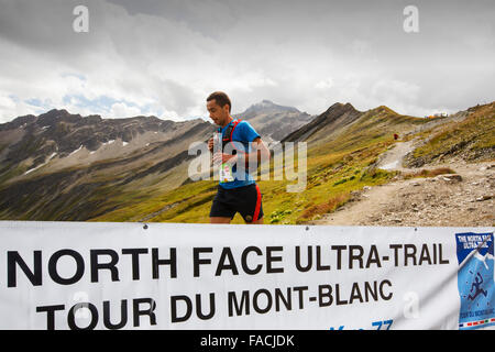 Mountain racers undertaking the Ultra tour du Mont Blanc a mountain marathon with a distance of 166 km, with a total elevation g