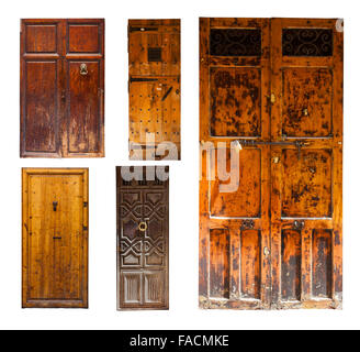 Set of old wooden doors. Isolated on white background - Stock Photo