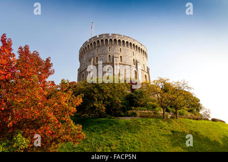 The Round Tower at Windsor Castle, Berkshire, England, UK - Stock Photo