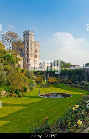 The garden below the King Edward III Towers at Windsor Castle, Berkshire, England, UK - Stock Photo