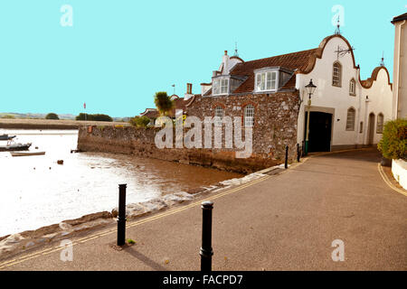 The 'dutch gable' architecture is a feature of this house in Ferry Road, Topsham, Devon, England, UK - Stock Photo